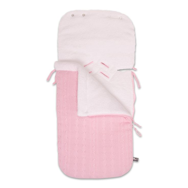 Heerlijk zachte en warme Baby's Only voetenzak in een combinatie van kabel en teddy in baby roze,  uit de online shop van Babyaccessoires.eu. In allerlei kleuren.