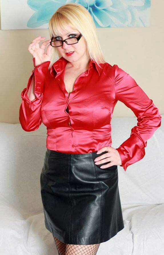 Mature Old Buisness Women In Satin Blouse 113