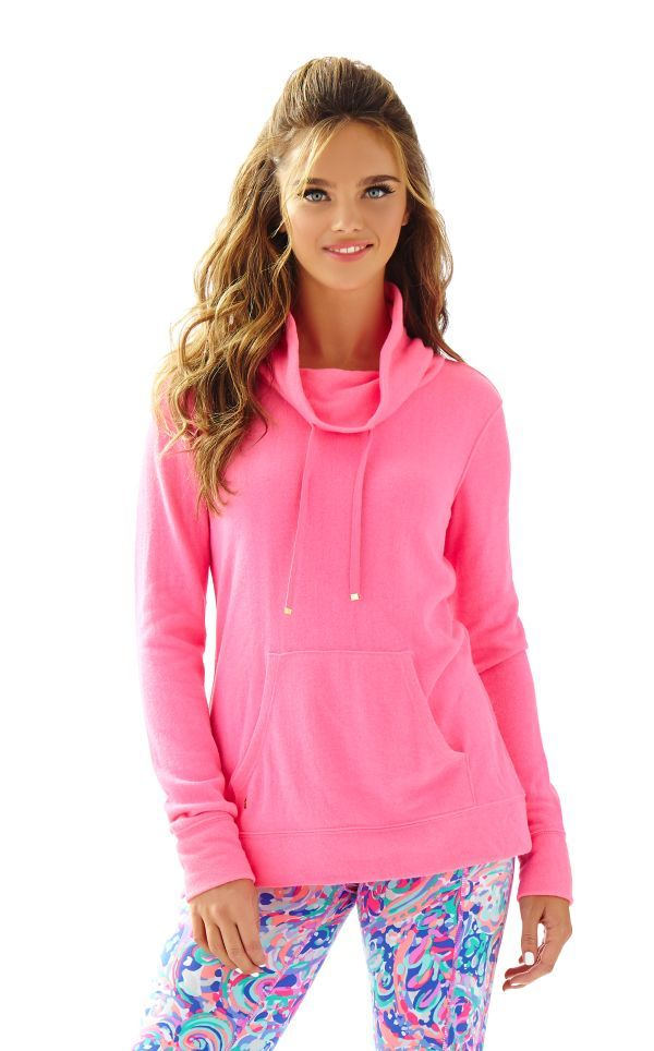 Hillary Draped Neck Pullover -  Draped Neck Pullover With Logo Hardware, Front Kanga Pocket And Long Sleeves. Poly/Cotton French Terry (82% Polyester 18% Tencel).  Lilly Pulitzer Flamingo Pink
