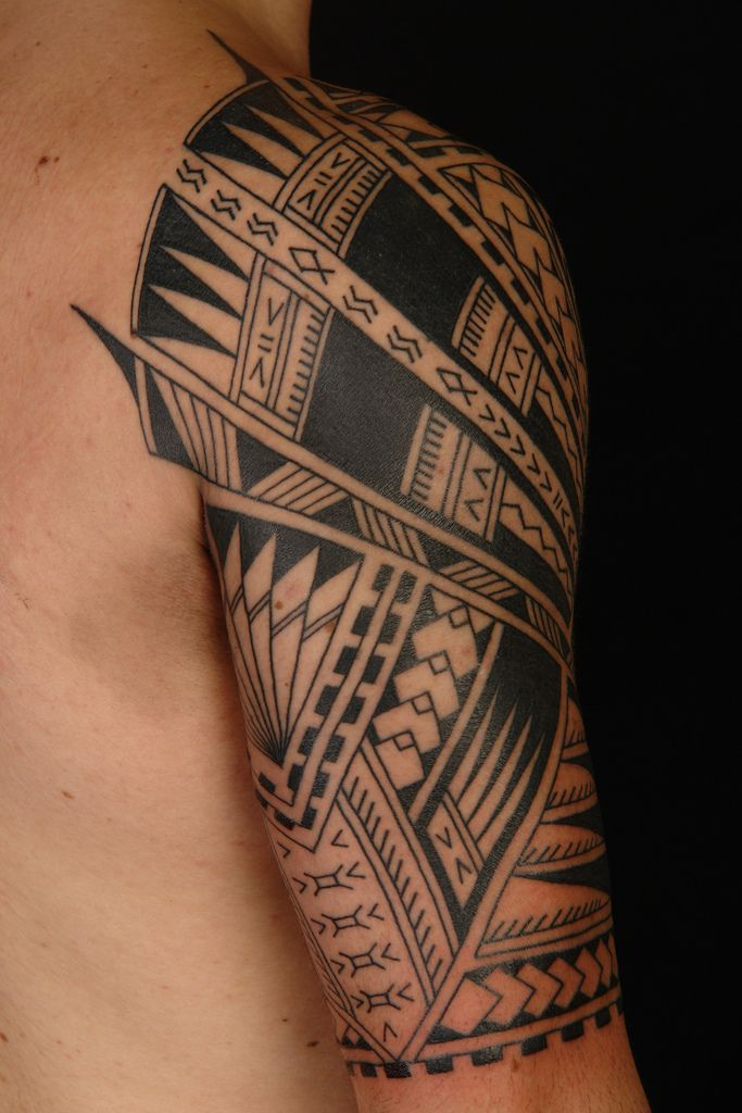 A vivid Polynesian Half Sleeve on Vini. #Tattoo by Shane Gallagher Coley, currently working @ Chapel Tattoo, Melbourne, Australia