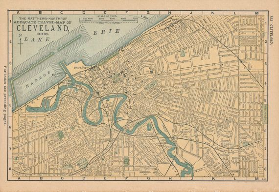 1893 Antique Map of Cleveland Ohio by Figure10 on Etsy