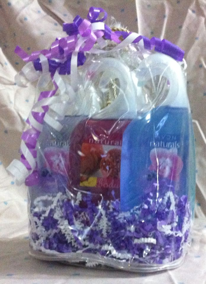 This is one of my non-traditional gift baskets. This basket has 6 Avon body washes in it 3 blueberry orchid 1 pomegranate mango 1 magnolia 1 ocean breeze This basket is $15.00 on etsy. Just look for my store  GiftBasketsbySam