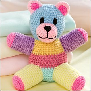 Patchwork Crochet Bear. Bright colours would attract a young child and this is just generally really cute.