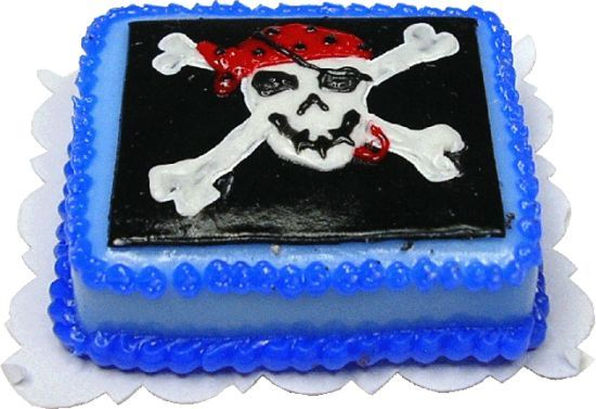 Jolly Roger Pirate Sheet Cake | Mary's Dollhouse Miniatures