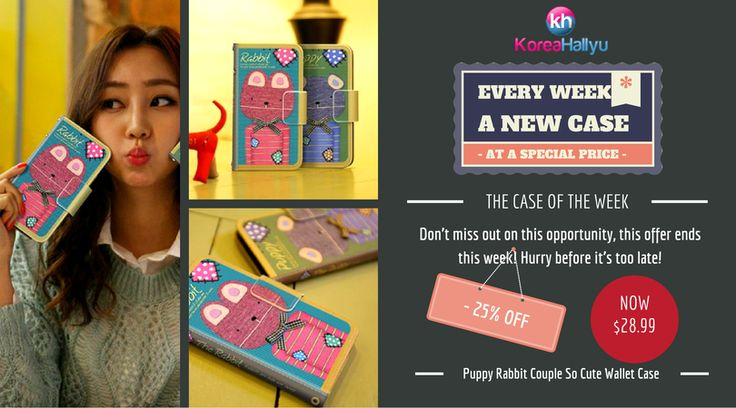 The Case of The Week Puppy Rabbit Couple So Cute Wallet Case