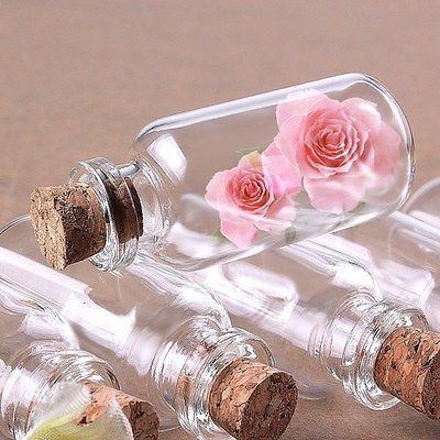 """Package of 24 Small Mini Glass Jars with Cork Stoppers - Size: 1-1/2""""; Tall X ..."""