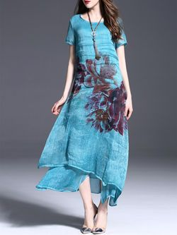 Floral-print Silk-Linen #Maxi #Dress