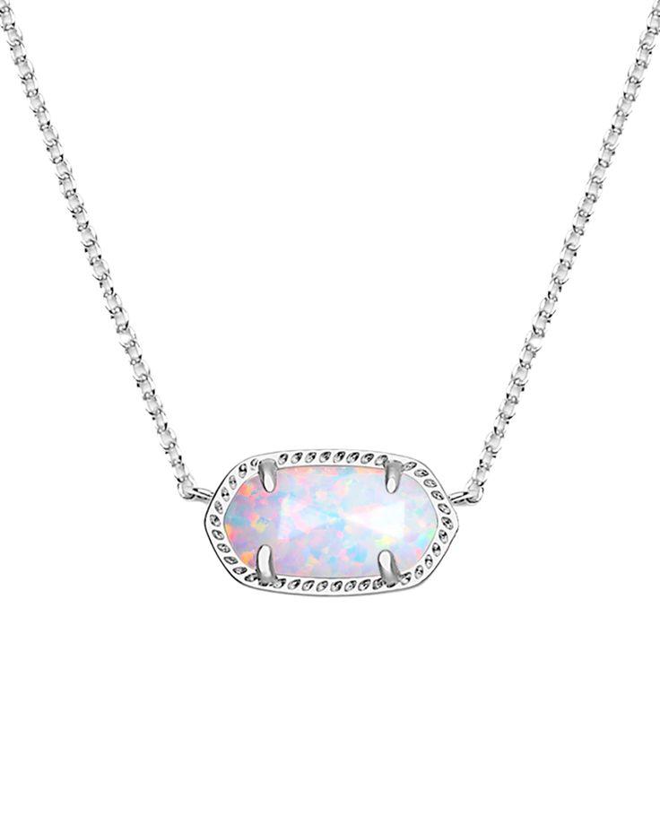 Elisa Silver Pendant Necklace in White Kyocera Opal - Kendra Scott Jewelry.