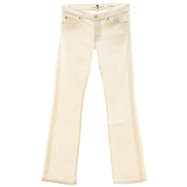 Pre-owned Noble white Bootcut Jeans ($42) ❤ liked on Polyvore featuring jeans, white, rivet jeans, polka dot jeans, white boot cut jeans, stone jeans and american jeans
