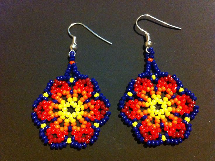 Huichol Peyote Beaded Earrings. $7.75, via Etsy.