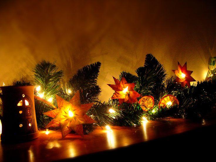Christmas lights, tea bag folding