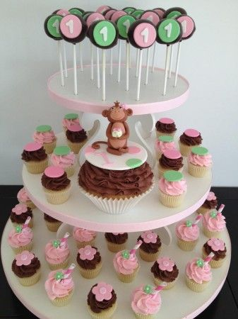 monkey birthday party cupcake tower
