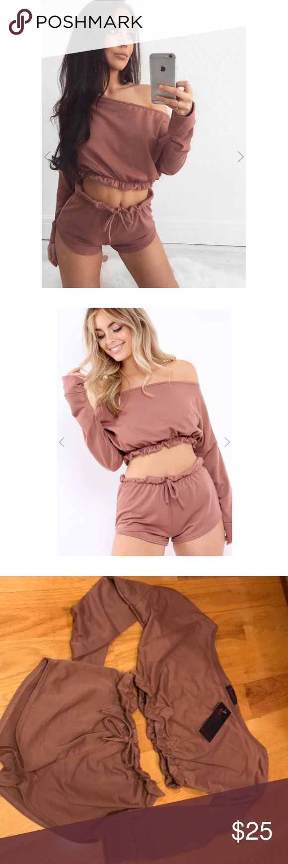 Mauve Comfy Two Piece Set Yesss girl, slay in this Prina Mauve Bardot Co-ord Set. Featuring a bardot crop top, elasticated ruffle hem and waist. Style with trainers and a cap to have that must have chilled look! Super comfortable. Bought this from MissGuided UK, but brand is 'PRAGUE' Missguided Tops
