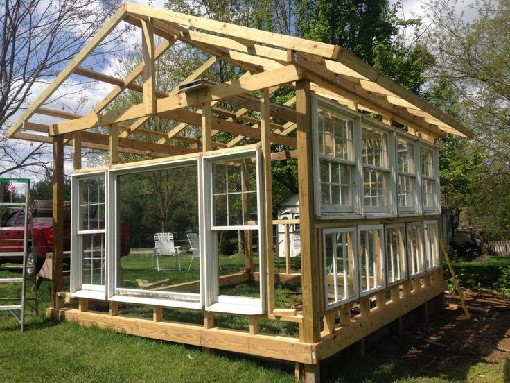 Building a greenhouse from old windows v xthus v xth for Greenhouse house plans