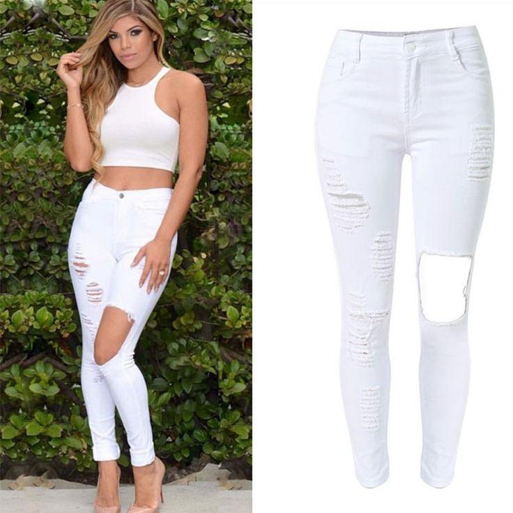 Calça Jeans Branca Rasgada Scatched