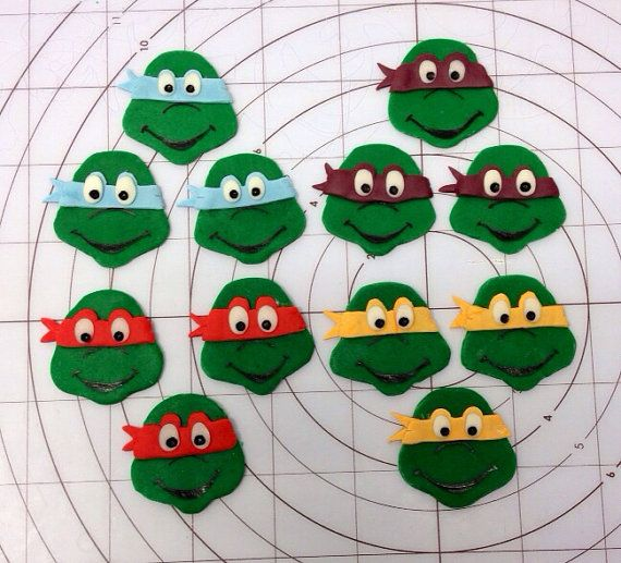 TMNT/Ninja turtles fondant mini cupcake toppers for mini cupcakes on Etsy, $15.00