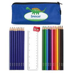 Blue Dinosaur Pencil Case & Contents | Personalise | Absolutely Adorable