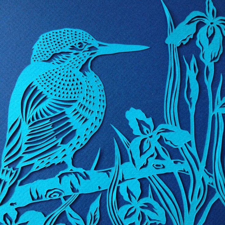 Bird paper cut. Kingfisher in Flag Iris, 2016. Close up. Handmade papercut by Stories In Paper (Ellie Chaney). www.storiesinpaper.com