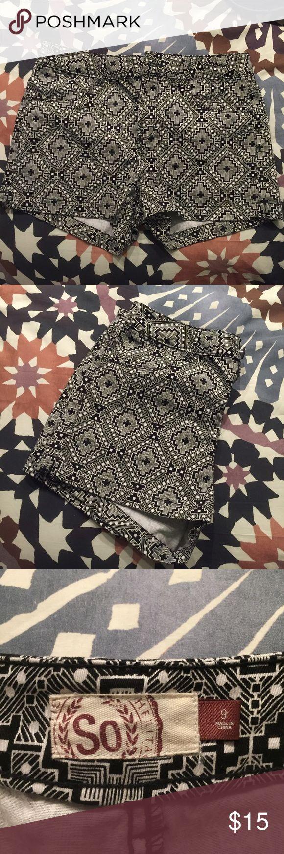 NWOT black and white Aztec shorts Brand new without tags. Black and white Aztec patterned shorts. Size 9 juniors. SO Shorts
