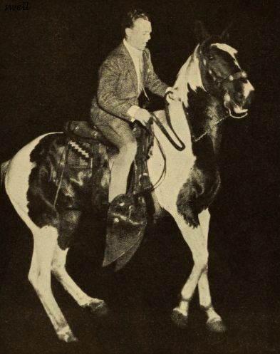 James Cagney having a spot of bother with his not-entirely-faithful steed during the Film Stars' Frolic Parade in May, 1934. The parade featured Ann Harding as Queen, a light horse calvalry, color guard, sherriff's posse, a rodeo section, circus section, a Shakespearean group, dancers, lions, and Miss America, all led by emcee Eddie Cantor. (Jim and horse appear to be making same expression.)