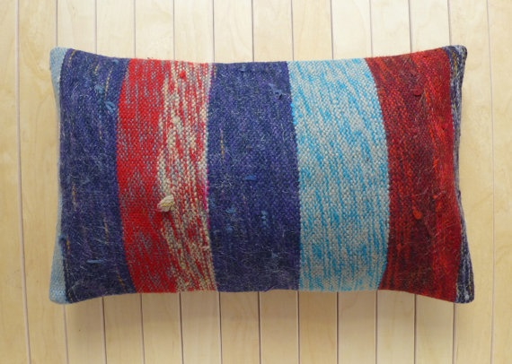 Lumbar with stripes Handmade vintage Wool by PillowTalkOnEtsy, $32.00