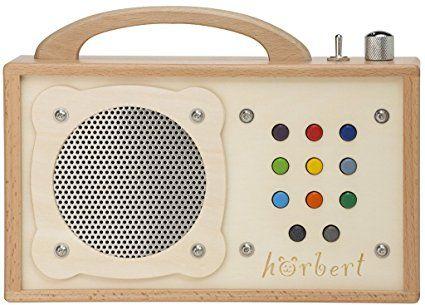 MP3-Player für Kinder: hörbert - aus Holz! Tragbarer kindgerechter MP3 Player, mit Batterien und eingebautem Lautsprecher, Lautstärkebegrenzung und SD-Card. Besonders Robust für Mädchen und Jungen - sogar für Kleinkinder. Keine Kopfhörer und ohne Display. 9 Playlists.