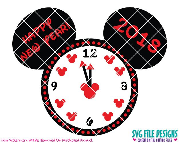 Mickey Mouse Happy New Year Clock 2018 SVG Cut File Set For NYE