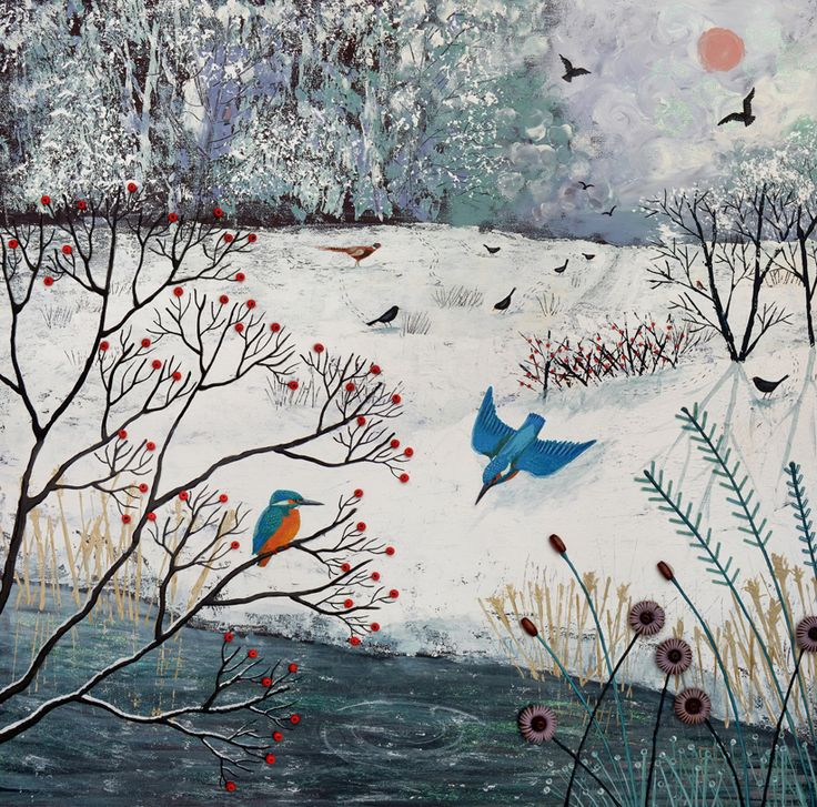 Winter Kingfishers - mixed media on a 60 x 60cm standard canvas.