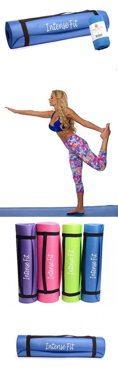 """Intense Fit 3 Piece Yoga Starter Kit w/Multi-Purpose 3/8-Inch Thick 71"""" Long 24""""Wide Anti-Tear Non-Slip NBR Comfort Foam Yoga Pilates Mat SET WITH Hand Towel & Carrying Strap - 4 Colors (Blue/Blue)"""
