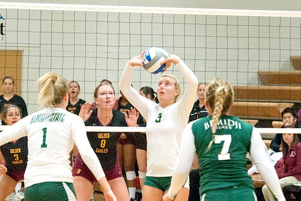 Courtney Volkman in a game against Crookston. For more information on the game visit http://www.bsubeavers.com/volleyball/news/2012/6006/bsu-falls-to-minnesota-crookston-in-home-opener/