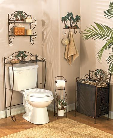Create your own personal paradise when you decorate with this Bronzed Palm Bath Collection. These utility pieces add storage and decor to your bathroom with their beautiful bronzed finish and 3-D palm tree and Hawaiian floral accents. The Spacesaver (24-