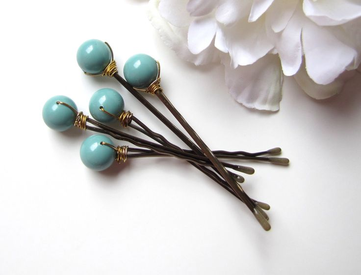 Jade Green Bobby Pins, Wedding Hair Pin Set by BellaMiaDesign on Etsy https://www.etsy.com/listing/103438941/jade-green-bobby-pins-wedding-hair-pin