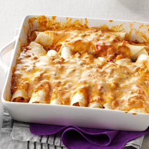 Simple Creamy Chicken Enchiladas Recipe from Taste of Home -- shared by Melissa Rogers of Tuscaloosa, Alabama
