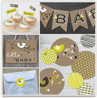 Baby shower party kit from Minted - love the gender neutral birdie theme!: Shower Ideas, Baby Shower Decorations, Nesting Bird, Bird Baby Showers, Baby Shower Parties, Babyshower Decorations, Party Ideas, Party Decor