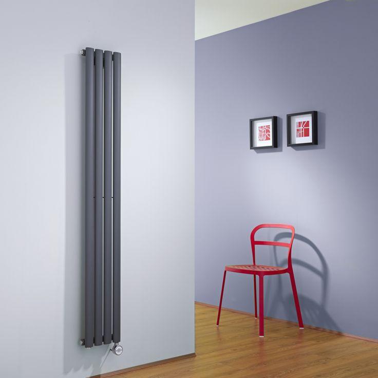 Radiateur Electrique Gain De Place #5: Hudson Reed Radiateur Design Ãu2030lectrique Vertical Anthracite Vitality 160cm  X 23,6cm X 5,6cm