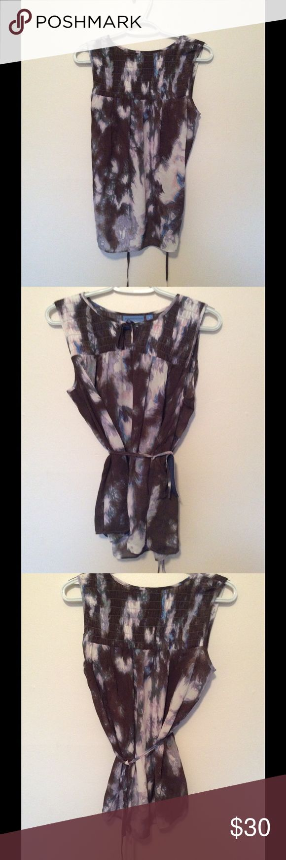 simply vera wang top🎈 Beautiful tie-dye brown and purple top with tie string.  New with tags! Simply Vera Vera Wang Tops Tank Tops