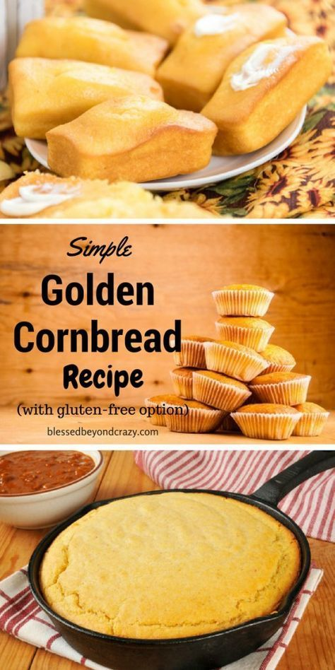 My all-time favorite recipe for cornbread! Easily modified to be gluten-free too! #blessedbeyondcrazy