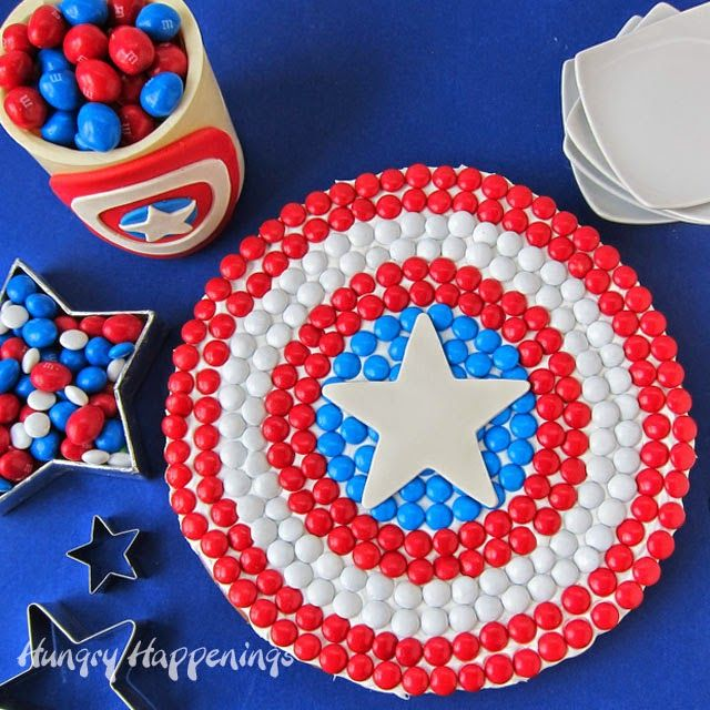 captain america cookie cake | Captain America M&M's Cookie Cake, Candy Jar, and More Party Treats