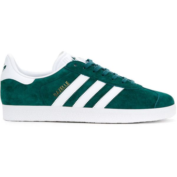 Adidas Gazelle low top sneakers (€95) ❤ liked on Polyvore featuring shoes, sneakers, green, low top, round toe sneakers, adidas trainers, round cap and striped sneakers