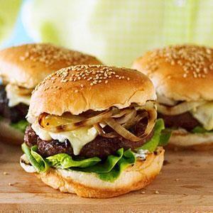 Cherry and Brie Burgers with Rosemary and Grilled Onion | MyRecipes.com