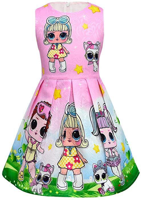 5d883f61a5e1f Amazon.com: Mukola LOL Surprise Girl Dress Doll Printed Sleeveless ...