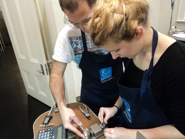 Couple making their own wedding rings at Larsen Jewellery