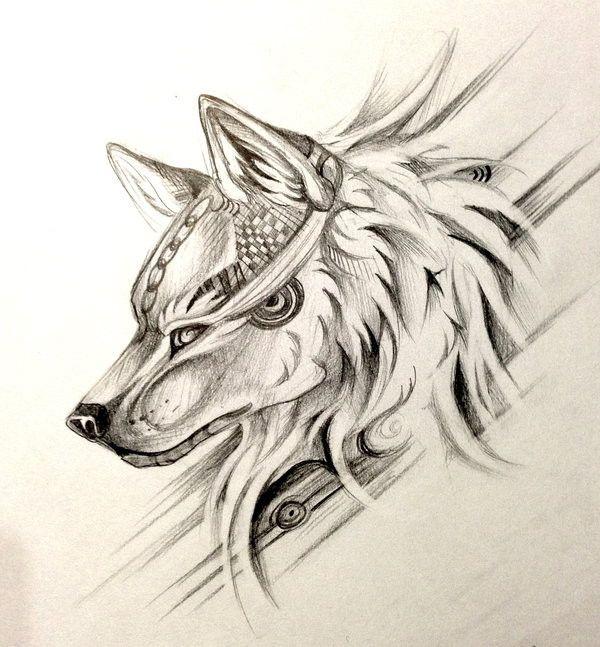 Dessin tatouage tête de loup