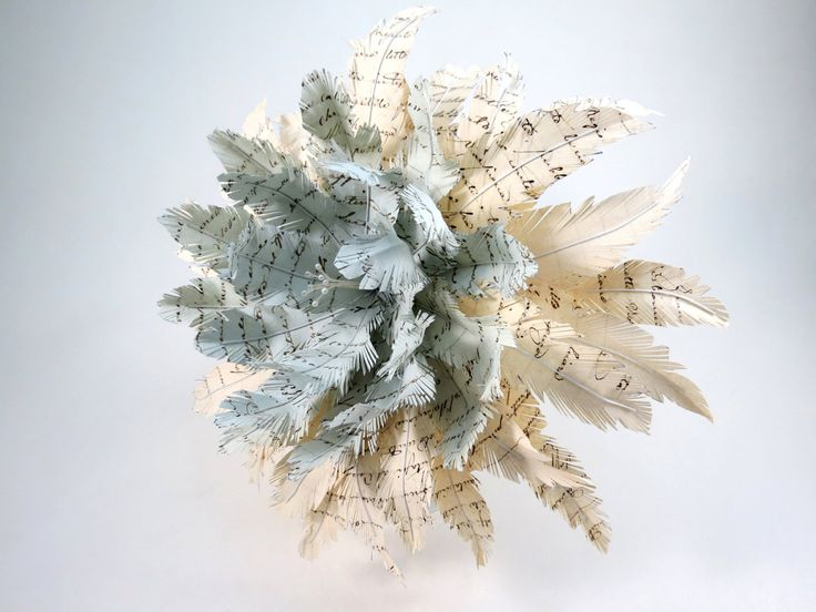 Ancient Manuscript Paper Feather Wedding Bouquet by CeeBeeRecycle on Etsy