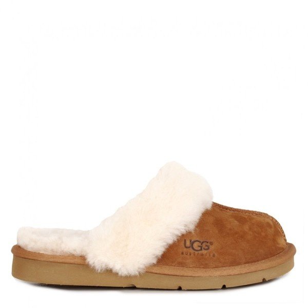 Ugg Australia Womens Tan Sheepskin Mule Slippers ($135) ❤ liked on Polyvore