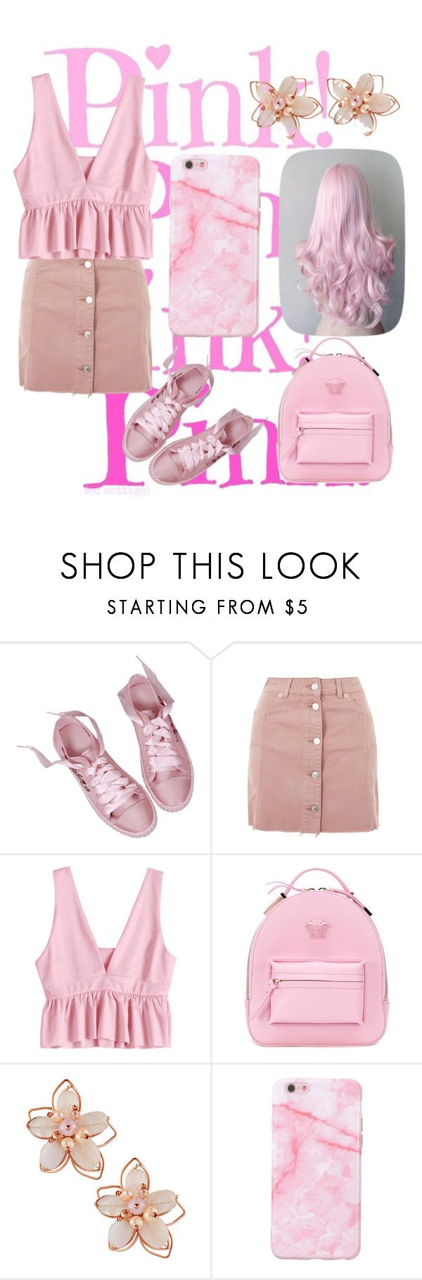 """Pink!"" by emma-mihaela ❤ liked on Polyvore featuring Topshop, Versace and NAKAMOL"