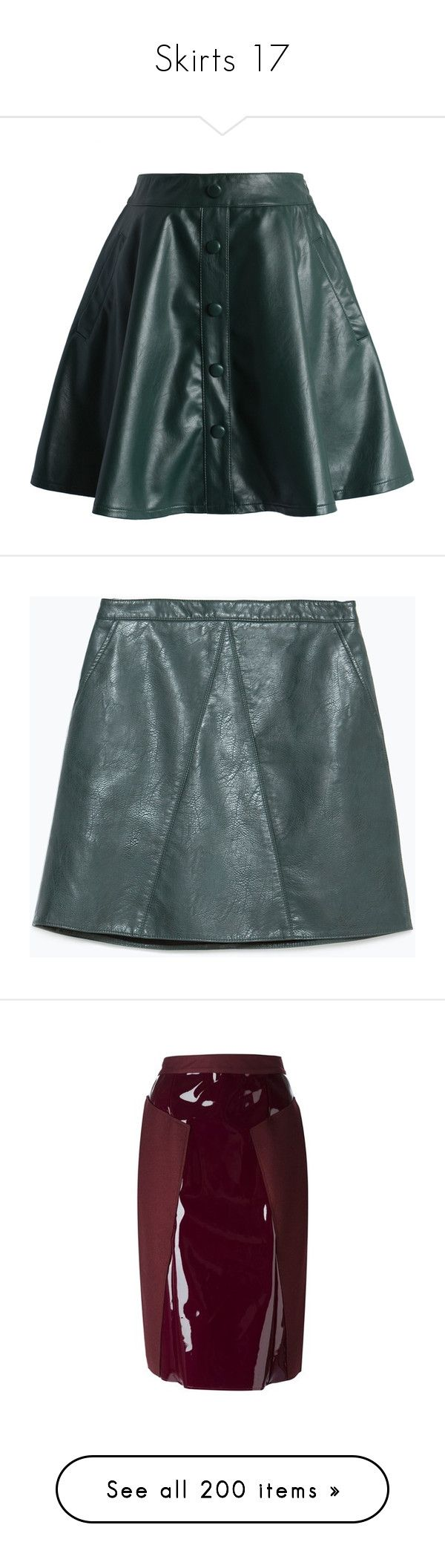 """""""Skirts 17"""" by katiemarilexa ❤ liked on Polyvore featuring skirts, chicwish, green, green a line skirt, faux-leather skirts, knee length a line skirt, leather look skirt, chicwish skirt, bottoms and leather"""