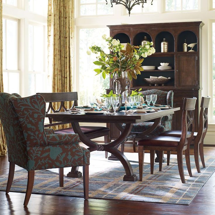 LOVE The Accent Chairs At Ends Of Dining Table Upholster Two In A Fabulous Fabric Woodlands Trestle By HGTV Furniture