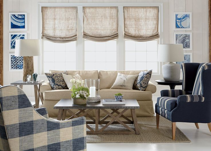 Cool yet cozy—unfussy and proud of it. This casual living room works on so many levels: it melds classic lines with comfortable seating, plaids with stripes and solids. It embraces texture at every turn. And even while it respects space and scale, it evokes a feeling of ease—thanks to its subtle nods to sand and sea.