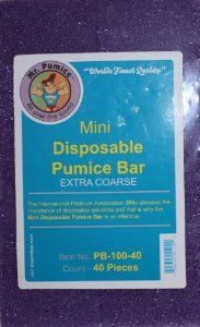 Mr Pumice - Mini Disposable Pumice Bar Extra Coarse 40 pcs. by Mr. Pumice. $19.00. Pedicure and Manicure. Wet or dry. Only seconds. Great for hands, feet and elbows. Mr. Pumice is great for hands, feet and elbows. Finest quality. Use wet or dry. Takes only seconds to use.